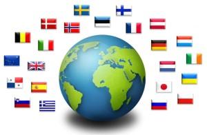Weltkugel Mit Länderfahnen